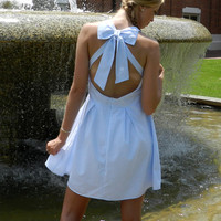 Once in a Lifetime Dress, Light Blue and White Stripes