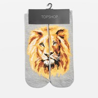 Split Lion Face Ankle Socks | Topshop