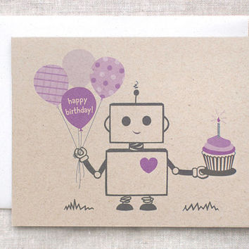 Robot Birthday Card - Purple, Brown - Happy Birthday Balloons, Cupcake - Recycled, EcoFriendly