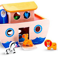 """Premium Wooden """"Noah's Ark"""" Toy Boat & Shape Sorter Set for Toddlers w/ Removable Top & Working Drawbridge w/ 7 Pairs of Little Animals for Boys & Girls to Play With - Ideal for 2 & 3 Year Olds"""