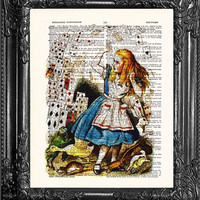 ALICE IN WONDERLAND-Dictionary Print Vintage Book Print Page Art, Upcycled Antique Book Art, Print on Dictionary Book Page Art Print