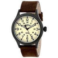 Timex T49963 Men's Expedition Scout Beige Dial Black Brass Brown Leather Strap Watch