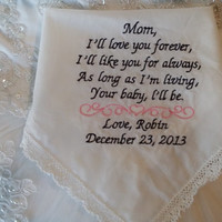 LACY Mom Personalized Wedding Handkerchief. Gift for the Mother of the Bride FREE Sparkling Gift Envelope included.