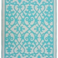 Winding Lace Eco-Friendly Woven College Rug - Cream & Turquoise