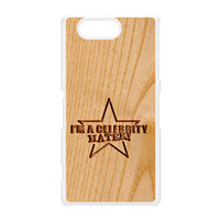 Carved on Wood Effect_Celebrity Hater White Hard Plastic Case for Sony Xperia Z3 Mini by Chargrilled