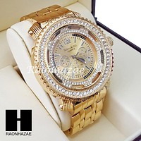 Men's Hip Hop 14K Gold PT Bling Lab Diamond Techno King Watch L1