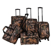 American Flyer Luggage, Camo 5-piece Expandable Spinner Luggage Set (Green)