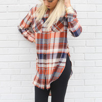 Change Of Heart Rust Plaid Button-Down Shirt With Side Slits