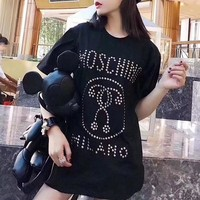 """Moschino"" Women Casual Fashion Personality Rivet Letter Pattern Short Sleeve T-shirt Top Tee"