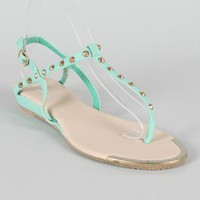 Twilight-2 Leatherette Studded Spike T-Strap Flat Sandal