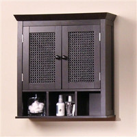 Dark Espresso 2-Door Bathroom Wall Cabinet with Storage Shelves