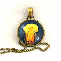 10% SALE - Necklace Yellow Moon Jellyfish Pendant Copper Necklaces Gift