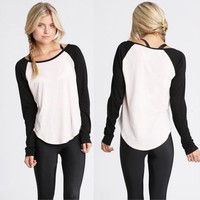 Fashion Women Summer Casual Long Sleeve Colorblocked Baseball T-Shirt Blouse Top