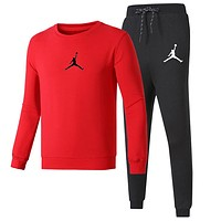 AIR JORDAN 2018 autumn and winter new simple sports suit men and women casual two-piece Red