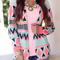 Multicolor Collarless Long Sleeve Geometric Print Cardigan