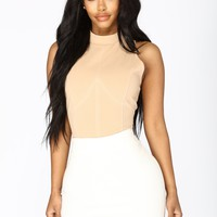 Material Girl Stitched Bodysuit - Nude