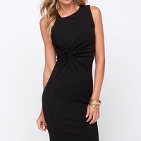 LULUS Exclusive Ladies' Night Black Midi Dress