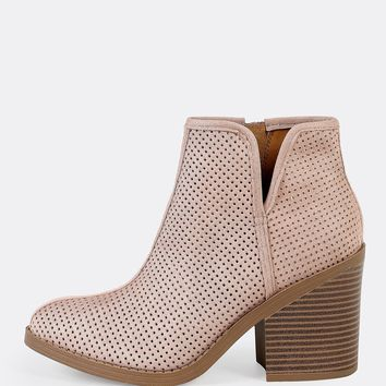 Side Zippper Perforated Boots DARK MAUVE