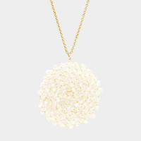 AB Clear Beaded Disc Pendant Long Necklace
