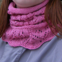 Pink beaded hand knit cowl,Wool neckwarmer,Lace collar,Knit circle scarf