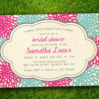 Vintage Modern Floral Flowers Pink Turquoise Bridal Shower / Bachelorette Party / Couple Shower /  Birthday Invitation Card - DIY Printable