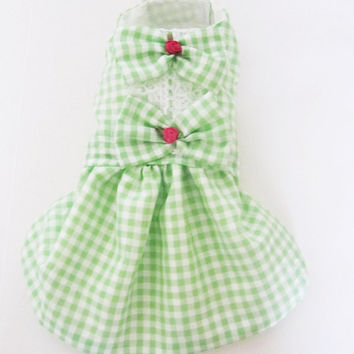 Dog Dresses: Gingham Light Green tiny roses and lace dog clothes spring dog dress Easter