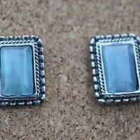 Blue Stone Post Earrings with Antique Silver Accents