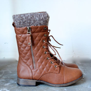 alpine quilted sweater boots in tan