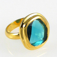 Candy Colored Gemstone Ring - Gold Vermeil with Striking London Blue Quartz