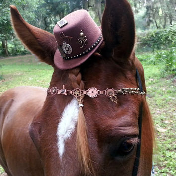 Steampunk Brown Fascinator / Mini Bowler Hat for Horse with Metal Charms - Equine Hat