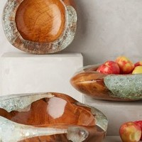 Teak And Resin Bowl by Anthropologie in Neutral Size: