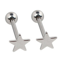 """Ruifan 2pcs Star Surgical Steel Straight Barbell Nipple Tongue Ring Piercing 14G 5/8""""(16mm)"""