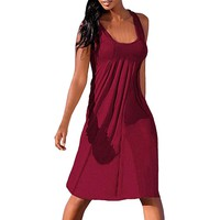 Solid Color Casual Dress Women Summer O-Neck Loose Tank Dress Ladies Sleeveless Pleated Comfortable Dresses #VE