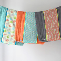 Baby Burp Cloth Gift Set of 3, Colorful Elephants, Giraffes and Arrows.  Ready to Ship