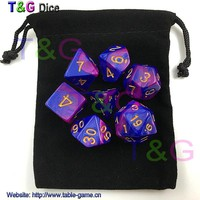 2015 New 7pcs Mix color Magic Purple Digital Dice Set with Nebula effect rpg Dice brinquedos dados juguetes dungeons and dragons