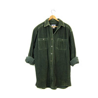 Corduroy Rib Shirt Dark Green 90s Oversized Long Sleeve Button Up RIBBED Shirt Slouchy Grunge Top 1990s Army Green Cotton Shirt Womens Large