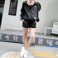 """""""Adidas"""" Women Stripe Letter Print Long Sleeve Hooded Sunscreen Clothes Shorts Set Two-Piece Sportswear"""
