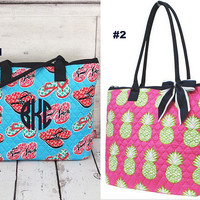 quilted shoulder purse/sandals/pineapples
