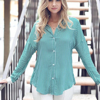 Lacey Day Button Up - Green/White
