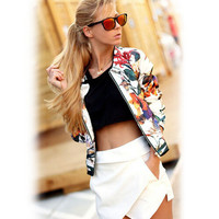 White Floral Print Zippered Cardigan