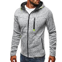 Men Solid Color Hooded Sweatshirt Coats