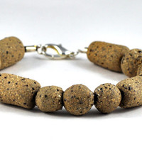 Ceramic Brown Beaded Bracelet Handmade Jewelry Organic and Earthy