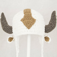 Appa the Flying Bison Earflap Hat from Avatar the Last Airbender, White Crochet Beanie, send size choice baby - adult