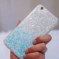 iphone 7 case, Snow Ombre White Blue,  glitter  iphone 7 plus case iphone 6s case iphone 6plus case iphone 6 case gift of her iphone 5 case