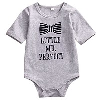 born Baby Romper Infant Baby Boy Gray Jumpsuit Outfits Cotton Clothes