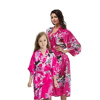 Bright Pink Mommy and Me Robes, Floral, Satin Feel