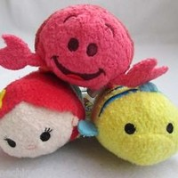 Disney Tsum Tsum The Little Mermaid:Ariel Flounder Sebastian Plush Toy Set of 3