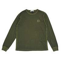 Garment Dyed Long Sleeve Patch Tee in Olive