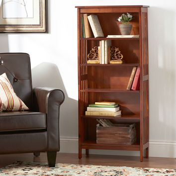 Mission Style 5-Shelf Bookcase 48-inch Tall in Antique Oak Wood Finish