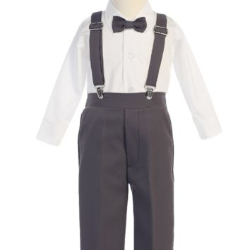 Boys Charcoal Grey Long Sleeve Suspender Pant Set with Hat 6M-7